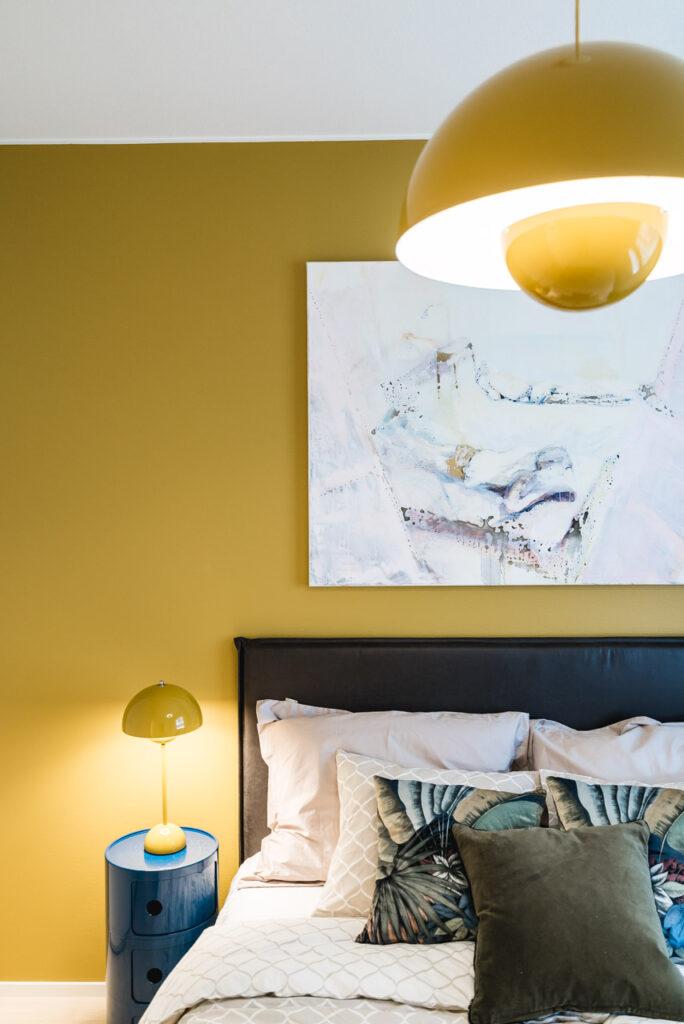 POF skandinaavinen sisustus makuuhuone Sisustussuunnittelu Rakuunapuisto Skanska uudiskohde